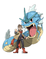 Commission - Trainer with Gyarados