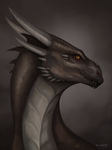 Portrait of brown dragon by Raxrie