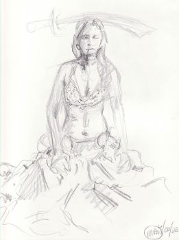 Figure Drawing - Bellydancer 3 by Teygan