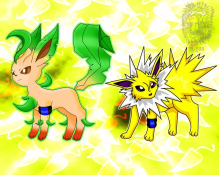 Rook, my Leafeon and Virgil, my Jolteon by TheBig-ChillQueen