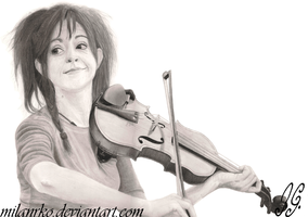 Lindsey Stirling Pencil Drawing by MilanRKO