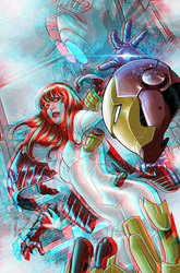 Mary Jane in Iron Man armor in 3D Anaglyph by xmancyclops