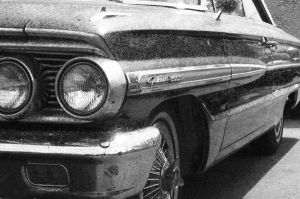 64 Ford front quarter side B+W by happymouse666