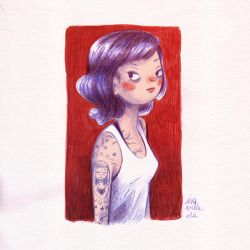 girl with blue hair and tattoos by Iraville