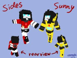 Sunstreaker and Sideswipe minecraft skin by umenosuke
