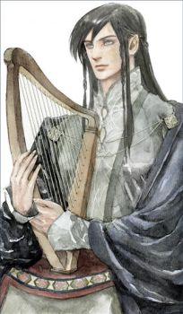 Maglor with harp by daLomacchi