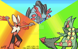 Gen III Starter Mega Evolutions by quazo