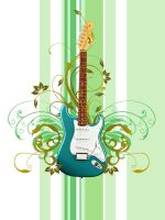 Guitar With Floral by septian93