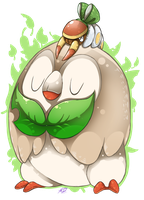 Feuille the Rowlet and Grubbin with a bow