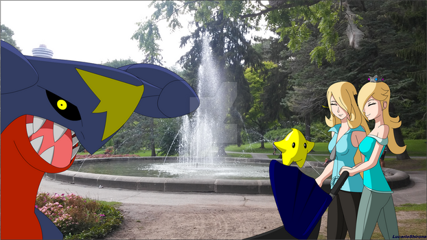 PokeSon Vacation - By the Fountain by LucarioShirona