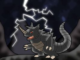 Rhydon in the Thunderstorm