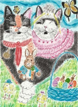 Happy  Easter  cats watercolor painting by tulipteardrops