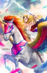 She-ra and her Pegasus (Swift Wind) by alex-malveda