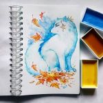 Instaart -  Arctic Fox and autumn leaves by Candra