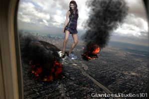 Giantess Victoria Justice Aerial Surprise by GiantessStudios101
