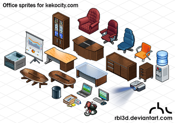 Office isometric objetcs for Kekocity.com by rbl3d