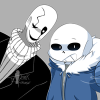 COLLAB - Sans And Gaster by Caguiat233