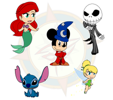 Assorted Chibis - Disney Collection by Dragon-FangX