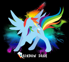 Rainbow Dash Silhouette T-shirt Design by jewlecho