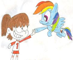 Lynn Loud and Rainbow Dash by SithVampireMaster27