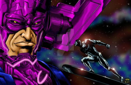Galactus VS Silver Surfer Colored by TyndallsQuest