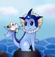 Vaporeon and Wingull by sin-pai