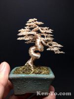 A large gold wire bonsai tree sculpture by Ken To by KenToArt