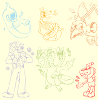 Cuphead Sketches by Pvnch-Pvppy