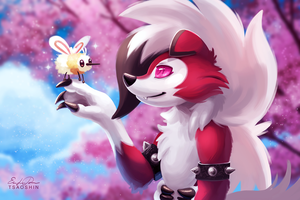 Lycanroc and Cutiefly by TsaoShin