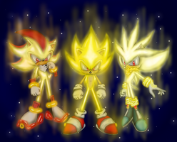 Super Sonic, Super Shadow y Super Silver by japoloypaletin
