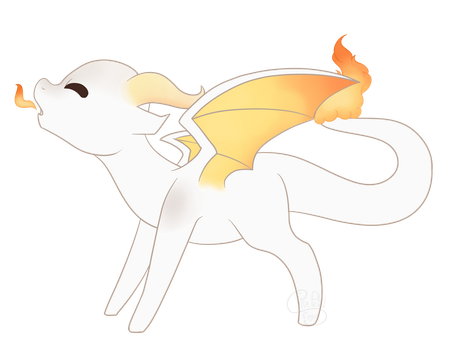 Dragon of white ash and fire, Cinders by FirePetalFox