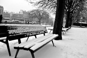 Snowy Bench by petitpepindepomme
