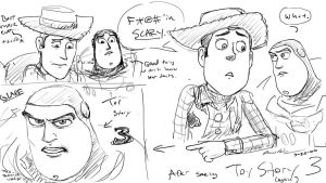 Buzz and Woody sketch dump 03 by JereduLevenin