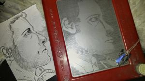 GISHWHES - Etch a Sketch Celebrity Castiel by DragonPress