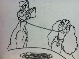 Lady and the Tramp painting outline by sampson1721