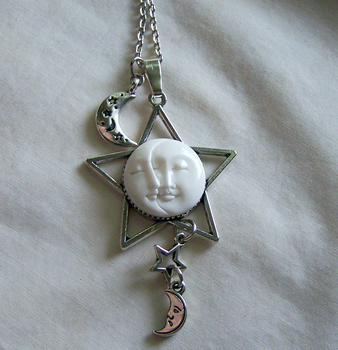 Silver Star Carved Moon and Sun Face Necklace by mymysticgems