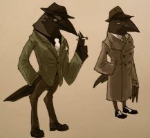 Birds in 1940s Suits by emilylikesaliens