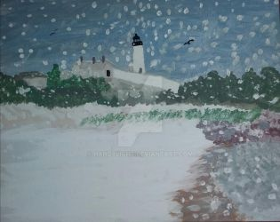 Snowfall At Nobska Point by handylight