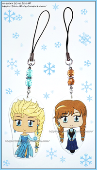 Hand Made Frozen Elsa Anna Shrink Plastic Charms by izka-197