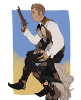 balthier and fran WIP by VeniceLatte