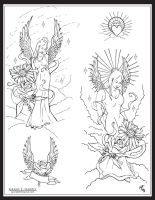 Angel Tattoo Flash by TheMacRat