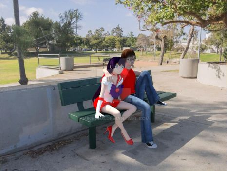 At the park Rei and I by Mikey186