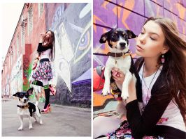 girl, dog and city colors by Lucem