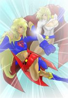 supergirl VS powergirl done by westwolf270