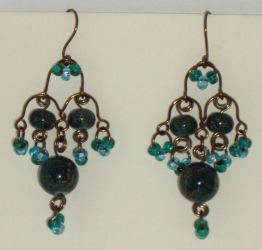 Chandelier earrings, teal by Catgoyle