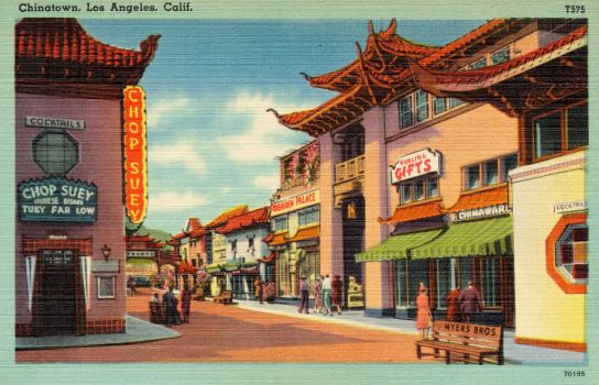 Vintage Los Angeles - Gin Ling Way, New Chinatown by Yesterdays-Paper