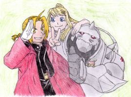 Ed, Winry, and Al colored by nightwindwolf95