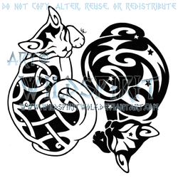 Yin Yang Starry Celtic Cats Design by WildSpiritWolf