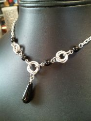 Mobius Necklace With Black Drop by BacktoEarthCreations