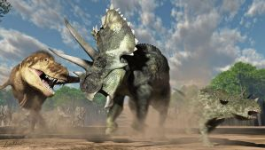 Teratophoneus and Agujaceratops adult and young by PaleoGuy